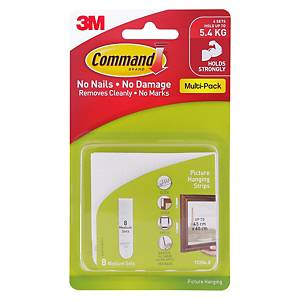 3M 17204 Command Medium Picture Hanging Strip (Holds Up to 5.4kg) Pack of 8