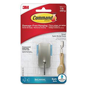 3M BATH33 Command Small Satin Nickel Hook (Holds up to 450g) w/Waterproof Strip