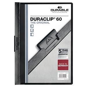 DURABLE A4 BLACK DURACLIP PRESENTATION FOLDERS - 60-SHEET CAPACITY - PACK OF 25