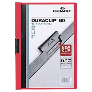 Chemise de présentation Durable Duraclip à clip - dos 6 mm - rouge