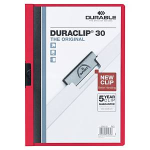 Klemmmappe Durable Duraclip 2200, A4, Fassungsvermögen: 30 Blatt, rot