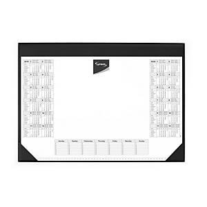Schreibunterlage Lyreco, 59 x 42 cm, mit Kalendarium, schwarz