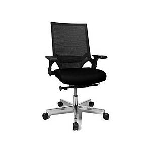 Chaise de bureau Chairzone Self One Pro, avec dossier filet et accoudoir, noire