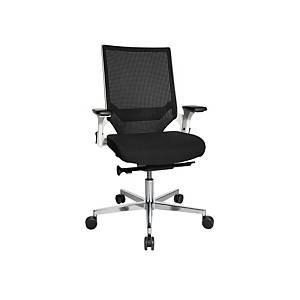 Chaise de bureau Chairzone Self One Pro,dossier filet et accoudoir, noir/ blanc