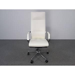 Chaise de bureau Milani Celine, cuir, blanche