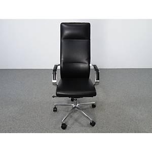 Chaise de bureau Milani Celine, cuir, noire