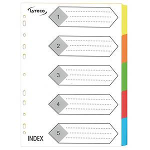 Lyreco A4 咭紙顏色索引分類 5層