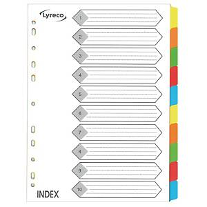 Lyreco A4 Colour Paper Dividers 10 Tabs