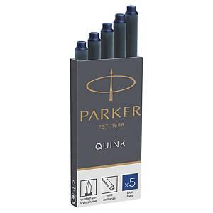 Naboje PARKER, 7,5 cm, niebieskie, 5 sztuk