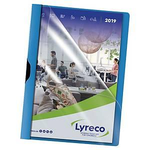 Pack de 5 dosieres con pinza Lyreco - A4 - PP - 30 hojas - azul