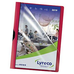 Klämmapp Lyreco, A4-format, röd, förp. med 5 st.