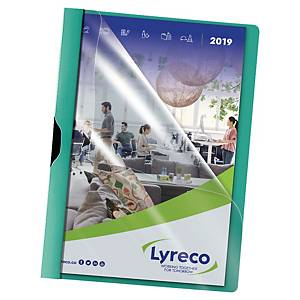 Cartelletta trasparente con clip Lyreco A4 30 fogli retro verde - conf. 5