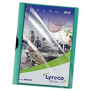 Klämmapp Lyreco, A4-format, grön, förp. med 5 st.