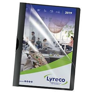 Lyreco chemises à pince A4 PP 30 feuilles noires - paquet de 5