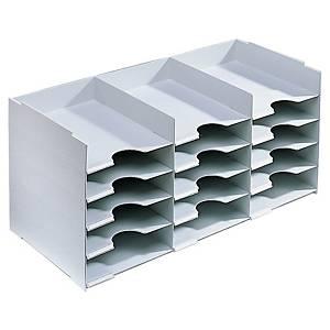 Système de rangement Paperflow pour armoires, 15 compartiments A4, gris