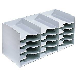 Sortierer Fast Paperflow, 15 Fächer für A4, stapelbar, grau
