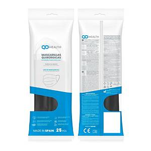 Pack de 25 mascarillas quirúrgicas QD Health tipo IIR - negro