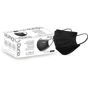 Durio 4Ply Surgical Face Mask (Black) - Box of 40