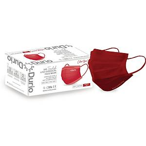 Durio 4Ply Surgical Face Mask (Maroon Red) - Box of 40