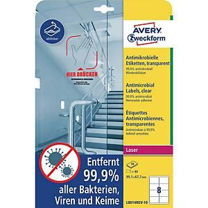 Avery L8014 antimicrobiële etiketten verwijderb., 99,1x67,7, transp., pak van 80