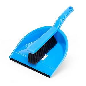 Ramasse-poussiere et balayette PVC bleu