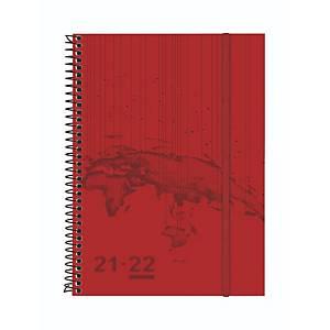 Agenda 18 meses Finocam Travel - semana vista horizontal - 155 x 212 mm - rojo
