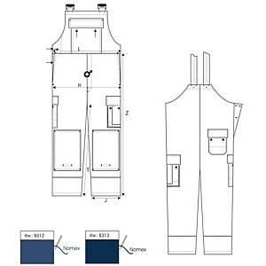 Van Moer 1625/B312 A-overall, korenblauw, maat 48, per stuk