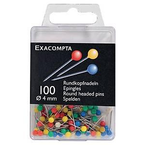 Špendlíky s kulatou hlavičkou barevné, Ø 4 mm, 100 kusů