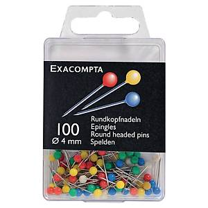 MAP DRAWING PINS ASSORTED COLOUR 4MM - BOX OF 100