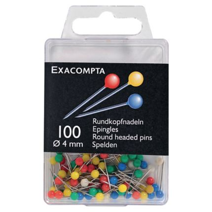 Pack Of 100 Green Exacompta Round Headed Pins