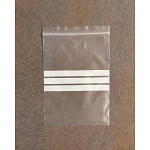 Sachet à fermeture pression, 3 bandes inscript, 160x220x0.075mm, emb. de 500pces