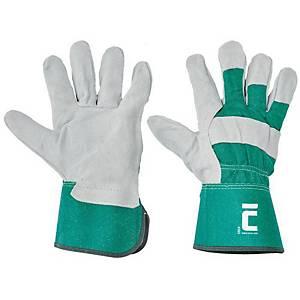Cerva Eider bőrkesztyű, méret 12, zöld, 12 pár