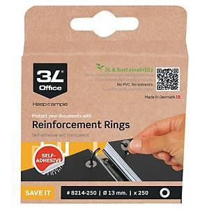 Anneaux de renfort autocollants 3L, transparents, la boîte de 500 anneaux