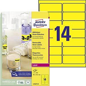 Avery L7263 Label 99.1 X 38.1 Mm Neon Yellow - Box Of 350
