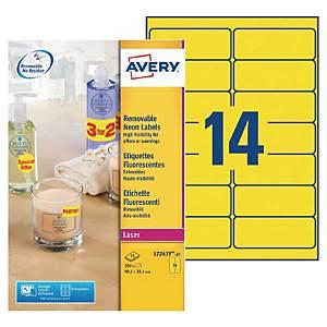 Etiquette enlevable Avery - L7263Y-25 - 99,1 x 38,1 mm - jaune fluo - par 350