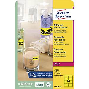 Avery L7263 Label 99.1 X 38.1 Mm Neon Yellow - Box Of 350