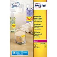 Étiquettes fluorescentes Avery L7263Y, jaunes, 99,1 x 38,1 mm, les 350