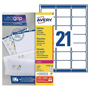 Etiquette adresse Avery - L7160-100 - 63,5 x 38,1 mm - blanche - par 2100
