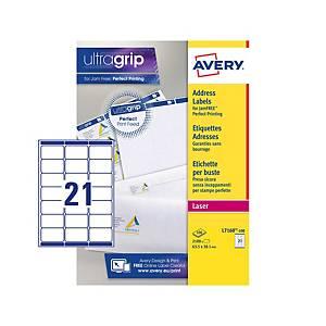 Caixa de 2100 etiquetas adesivas Avery L7160-100 - 63,5 x 38,1 mm - branco