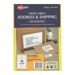 Avery 艾利 L7162-100 鐳射列印標籤 99.1x33.9毫米 每張16個標籤