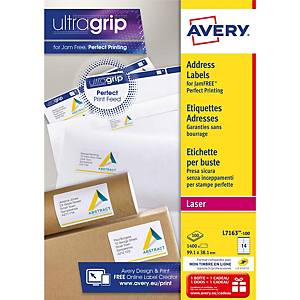 Avery L7163 laser labels Jam Free 99,1x38,1mm - box of 1400