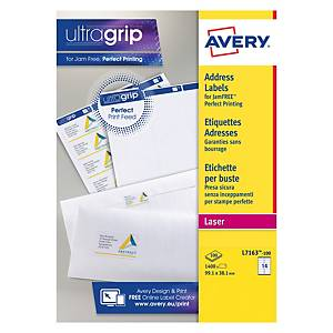 Avery L7163-100 Labels, 99.1 x 38.1 mm 14 Labels Per Sheet, 1400 Labels Per Pack
