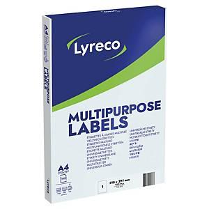 LYRECO MULTI-PURPOSE WHITE LABELS 210 X 297MM - BOX OF 100 (NO SELVEDGE)