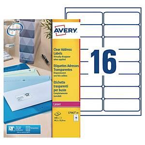 Etiquette adresse Avery - L7562-25 - 99,1 x 33,9 mm - transparente - par 400