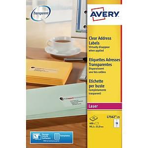 Caixa de 400 etiquetas adesivas Avery L7562-25 - 99,1 x 33,9 mm - transparente