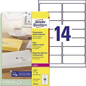 Průhledné adresní etikety Avery Zweckform, 99,1 x 38,1 mm, L7563-25, 350 kusů