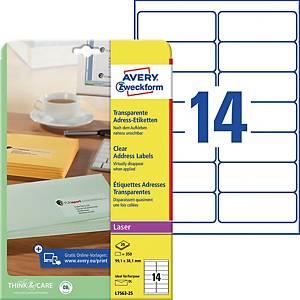 Adress-Etiketten Avery Zweckform L7563-25 99,1x38,1mm transparent 25Bl/350 Stück