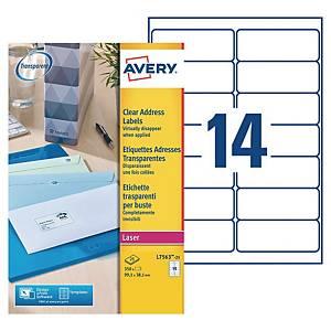 Etiquette adresse Avery - L7563-25 - 99,1 x 38,1 mm - transparente - par 350