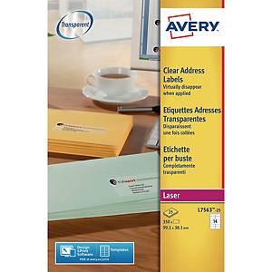 Étiquettes transparentes Avery L7563, 99,1 x 38,1 mm, les 350