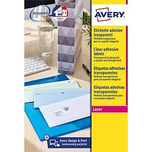Caja de 350 etiquetas adhesivas Avery L7563-25 - 99,1 x 38,1 mm - transparente